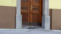 Big doors of a christian church Stock Footage