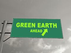 a notice board on a national highway showing green earth ahead, concept - stock illustration