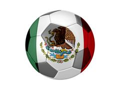 Stock Illustration of soccer football with mexico flag illustration, concept