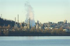 Oil Refinery, Burrard Inlet Stock Photos