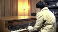 Stock Video Footage of Woman in baroque clothes playing piano shot in slow motion