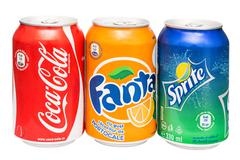 Coca-Cola, Fanta and Sprite Cans Stock Photos