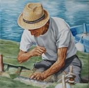 Oil on canvas representing a fisherman and his fishing net Stock Illustration
