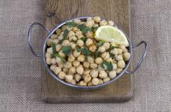 cooked chickpeas - stock photo