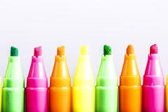 Group of felt tip bright color markers on white background Stock Photos
