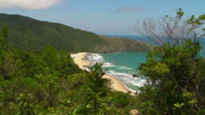 Stock Video Footage of A view from the trail to a remote beach at Lagoinha do Leste
