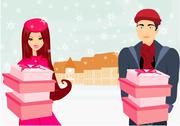 Stock Illustration of couple on Christmas shopping