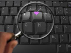 computer keyboard, letters expressing i love you - stock illustration