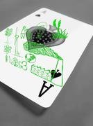 playing card, close-up of the ace of spades, alternative energy, concept - stock illustration