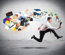 Stock Photo of business creativity with running businessman