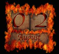 Burning wooden calendar august 2. Stock Illustration