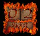 Stock Illustration of burning wooden calendar august 2.