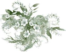 delicate floral grisaille - stock illustration