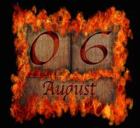 burning wooden calendar august 6. - stock illustration