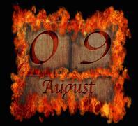 burning wooden calendar august 9. - stock illustration