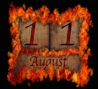 burning wooden calendar august 11. - stock illustration