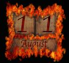 Stock Illustration of burning wooden calendar august 11.
