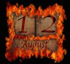 Stock Illustration of burning wooden calendar august 12.