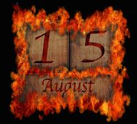 burning wooden calendar august 15. - stock illustration