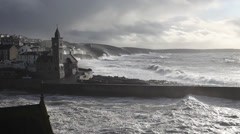 Porthleven battered by a winter storm Stock Footage