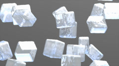 Ice cubes drop animationm, freshness, glass, liquid. Stock Footage
