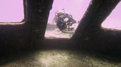 Wreck diving and filming 1280x720 Stock Footage