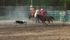 COWBOY ROPING CALF AT RODEO IN ROCKY MOUNTAINS - stock footage