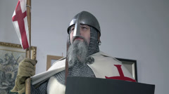 Upper shot of a knight in full gear Stock Footage