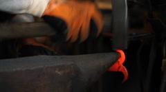 Stock Video Footage of Blacksmith hammering hot iron