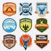 Outdoors emblems - stock illustration