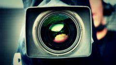 Camera zoom and focus Stock Footage