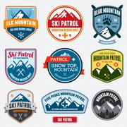 Ski badges Stock Illustration