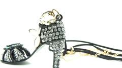 Pendant jewelery with diamond crystals shoe shape Stock Footage