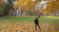 Woman shake autumn maple tree branch and colorful leaves fall Stock Footage