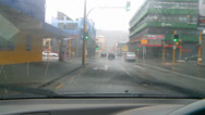 Stock Video Footage of Drivers POV heavy rain city streets