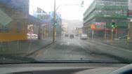 Stock Video Footage of Drivers POV heavy rain city