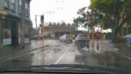 Stock Video Footage of Driving POV rain, narrow city streets
