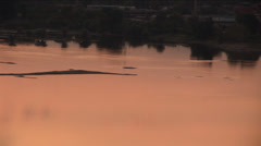 Lake shined in warm light - stock footage