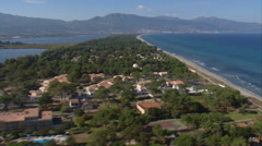 Aerial corsica beach pond Bastia Marana Stock Footage