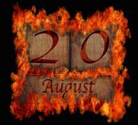 burning wooden calendar august 20. - stock illustration