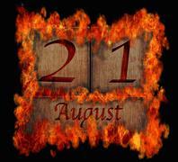 burning wooden calendar august 21. - stock illustration