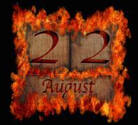burning wooden calendar august 22. - stock illustration