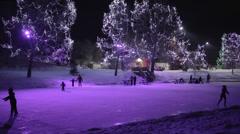 Skating Pond at Night Stock Footage
