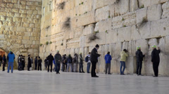 Wailing Wall (Western Wall) in Jerusalem in close-up time lapse Stock Footage