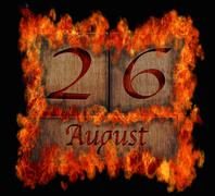 burning wooden calendar august 26. - stock illustration