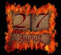 burning wooden calendar august 27. - stock illustration