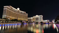 Stock Video Footage of Bellagio Fountains and Caesars Palace Resorts