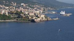 Aerial corsica bastia city harbor Stock Footage