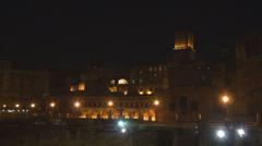Forum Trajan market square tower building rome italian city night illuminated Stock Footage