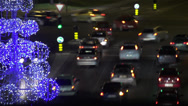 Stock Video Footage of Christmastime traffic